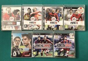 PLAYSTATION-3-PS3-partite-di-football-Bundle-FIFA-PES-Pro-Evolution-Soccer-X7