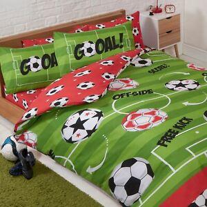 Football-Rouge-Double-Housse-de-Couette-et-Taie-D-039-Oreiller-Set-Enfants-Hors-Jeu