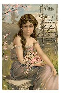 FEMME ART NOUVEAU.BEAUTI<wbr/>FUL LADY.BELLE CHEVELURE.LONG HAIR.GILDING.D<wbr/>ORURE.MOUTON