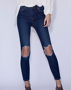 8637dbac5 Free People High Rise Busted Skinny Stretch Jeans Dark Blue NWT 28 ...