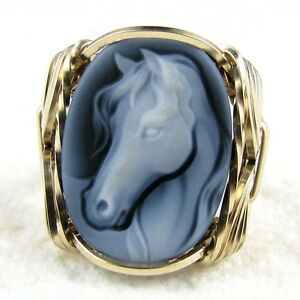 Girl Doll Black Agate Oval Stone Cameo Pendant Sterling Jewelry Any Size