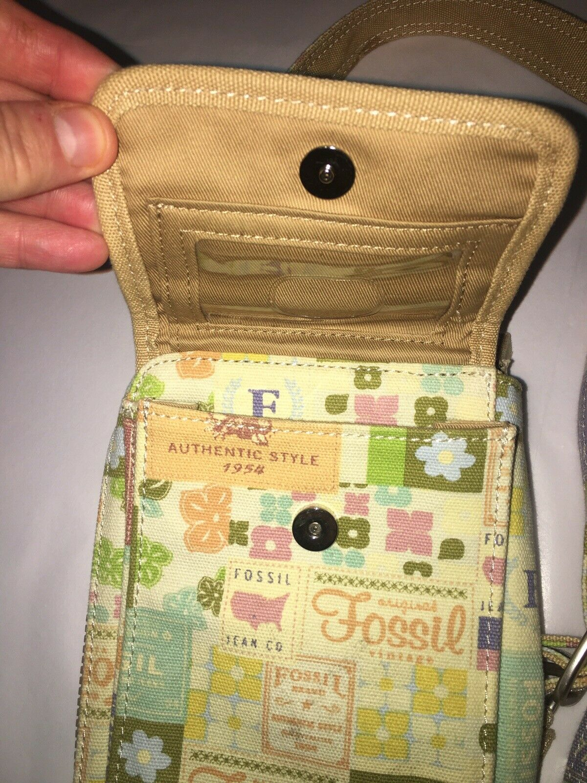 Fossil Small Tan Canvas Crossbody Bag - image 2