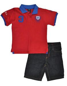 dd0d9ea398fb11 US Polo Assn Toddler Little Boys Red Polo   Short Set Size 2T 3T 4T ...