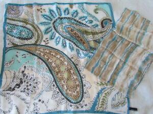 New-Unused-Vintage-Silk-Chiffon-Scarf-Lot-Paisley-Abstract-Aqua-Jones-New-York