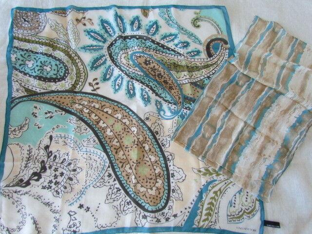 New Unused Vintage Silk Chiffon Scarf Lot Paisley Abstract Aqua Jones New York