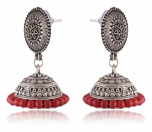 Indian Women Fashion Jewelry argent oxydé rouge perles jhumka earrings set
