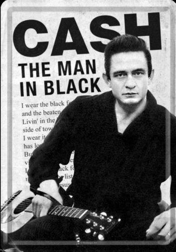 Metallschild Blechpostkarte 10 x 14 cm  Johnny Cash The Man in Black Rockabilly