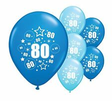"""10 x 80TH BIRTHDAY BLUE MIX 12"""" HELIUM OR AIRFILL BALLOONS (PA)"""