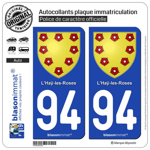 2 Blason Plaque Immatriculation Auto | 94 L'hay-les-roses - Armoiries | 94240