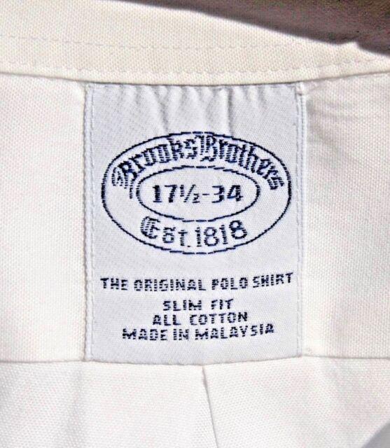 Brooks Brothers 17.5/34 Slim Fit Gentleman's White Cotton 'Original Polo' Shirt!