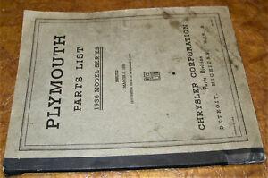 1936 36 Plymouth Pièces Manuel Catalogue Deluxe P1 P2 Original Business Six P-1 Technologies SophistiquéEs