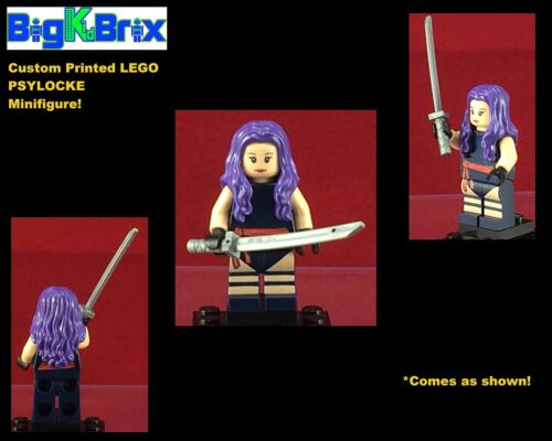 PSYLOCKE Marvel Custom Printed LEGO Minifigure with KATANA SWORD NO DECALS USED!