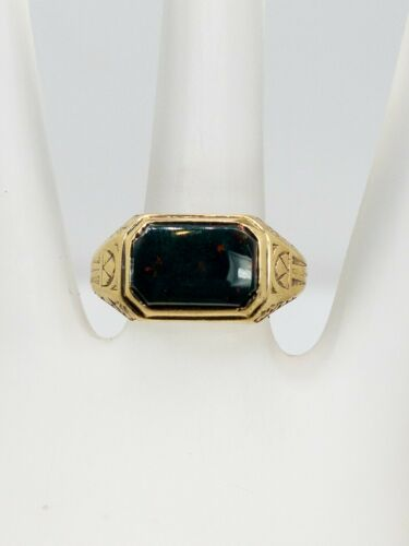 Antique Edwardian 1900s 4ct Bloodstone Gem 14k Yel