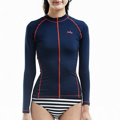 Belleap Rash Guard Womens Zip-Up Long Sleeve Swimwear UV Protection 0315