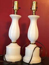 Vintage Milk Glass Hobnail Bedroom Table Vanity Lamps 2 White Boudoir Lights