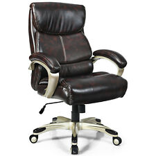 Costway 400lbs Big Amp Tall High Back Adjustable Swivel Leather Office Chair Brown