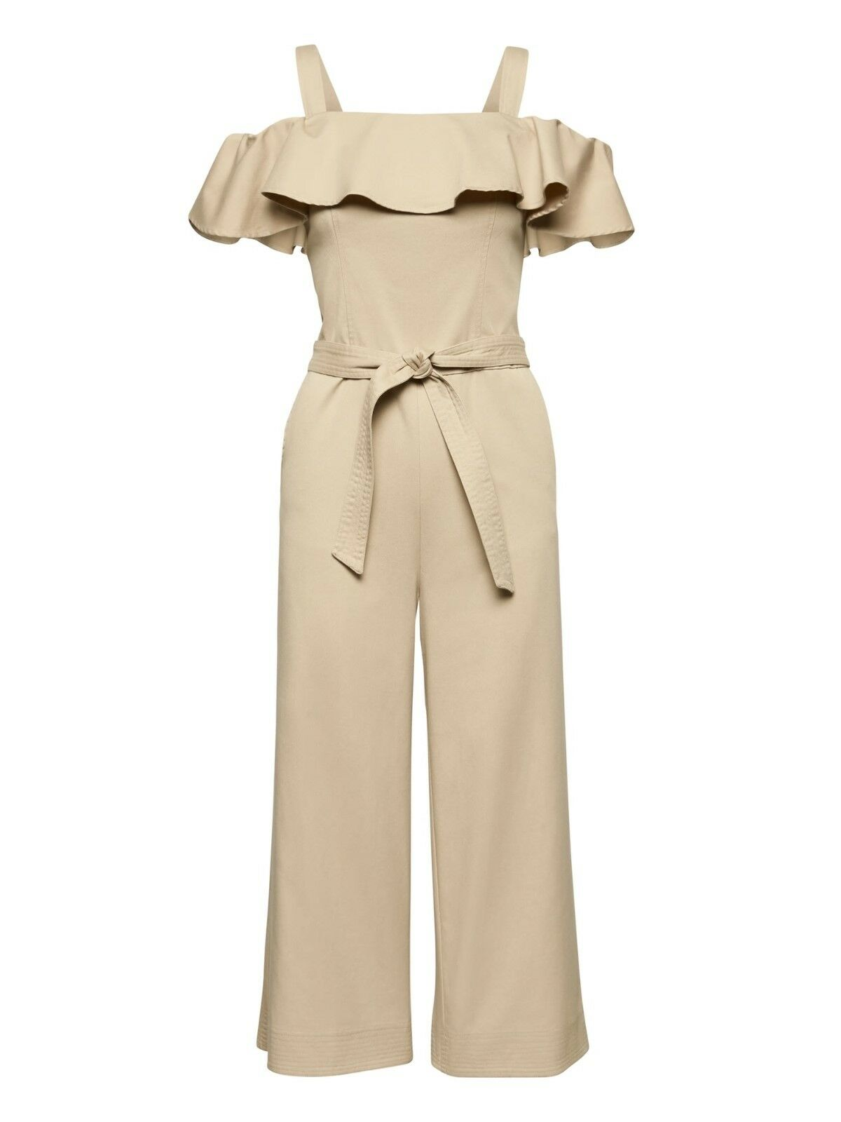 Banana Republic Twill Off-the-Shoulder Cropped Jumpsuit, Sz 16 Tall golden Beige