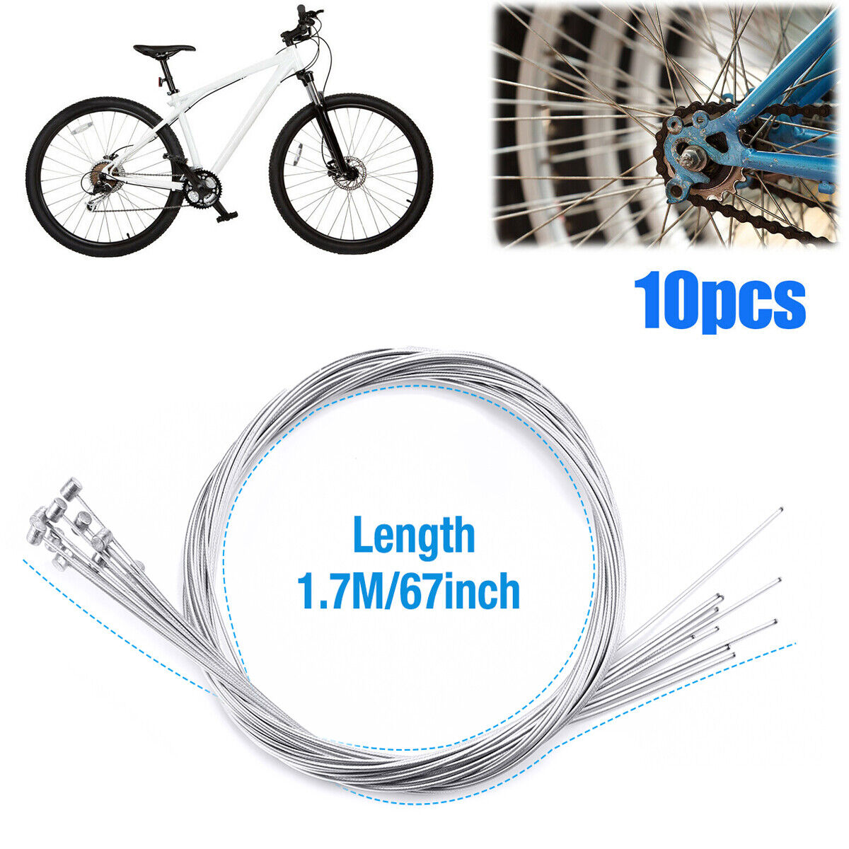 10Pcs 1.75m Bicycle Bike Cycling MTB Brake Inner Wire Cable Mountain Line Kits