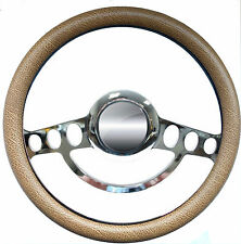 Chrome & Tan Grip Steering Wheel Full Kit 1969 and up Chevy Chevrolet El Camino