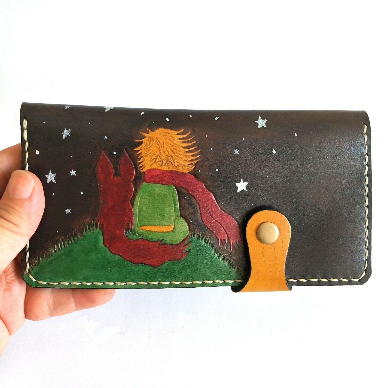 Little Prince and Fox Hand Painted Wallets, Handmade Leather Wallet, Unique Gift