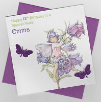 Personalised Handmade Flower Fairy Birthday Card - Daughter, Sister, Niece etc
