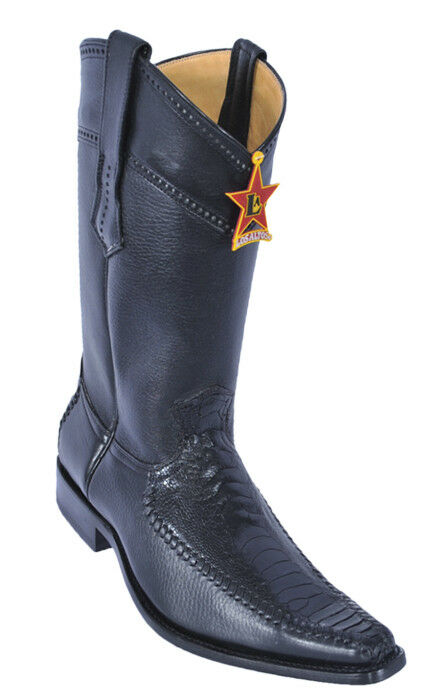 LOS ALTOS BLACK GENUINE OSTRICH LEG VERSAGE SQUARE TOE WESTERN BOOT D
