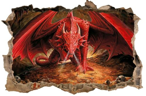 Red Dragon Fantasy hole in the Wall Art Sticker  Quality Bedroom Decal Print