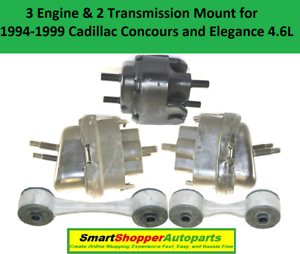 3 Engine /& 2 Transmission Mounts For 1994 1995-1999 Cadillac Concours Elegance