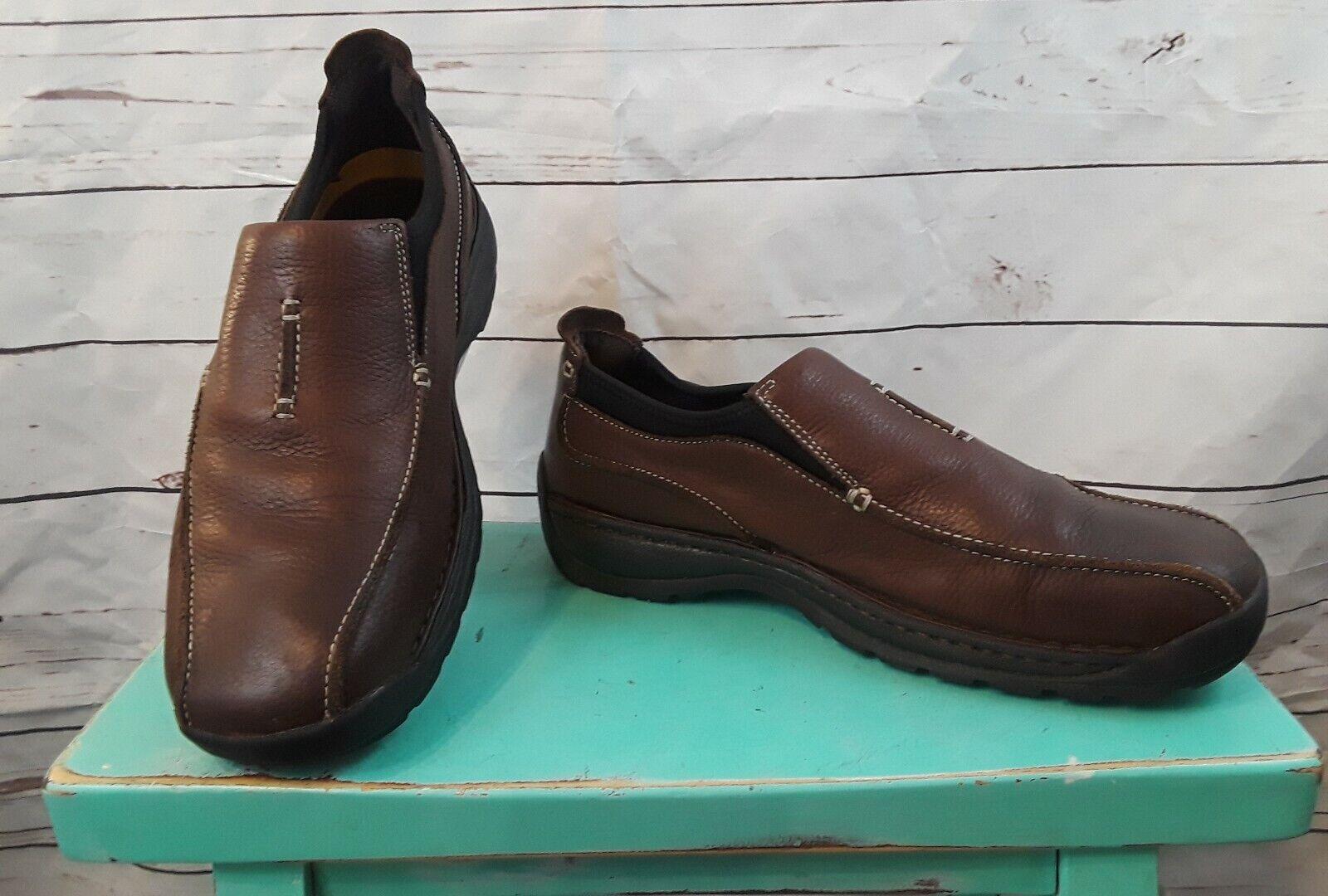 Skechers Men shoes 12 Slip On Casual Loafer Walking Leather Brown