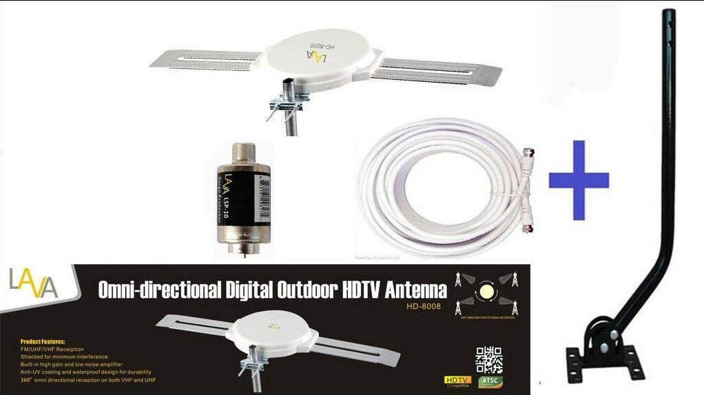 LAVA8008-360°Pro-Indoor-Outdoor-HDTV DIGITAL AMPLIFIED OUTDOOR TV ANTENNA+J-Pole. Available Now for 86.50