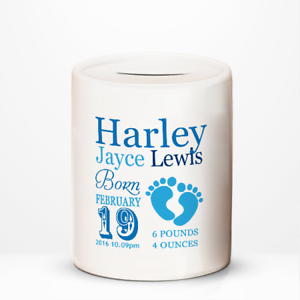 Personalised-Baby-Boy-New-Arrival-Birth-Details-Children-039-s-Savings-Money-Box