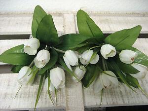 dekoration k nstliche tulpen set x 6 tulpenbusch wei blumen k nstlich wie echt ebay. Black Bedroom Furniture Sets. Home Design Ideas