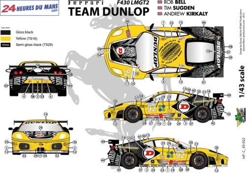"LM 2009 Decals 1//43 Ferrari F-430 LMGT2 /""Team Dunlop/"" FFSMC Productions"