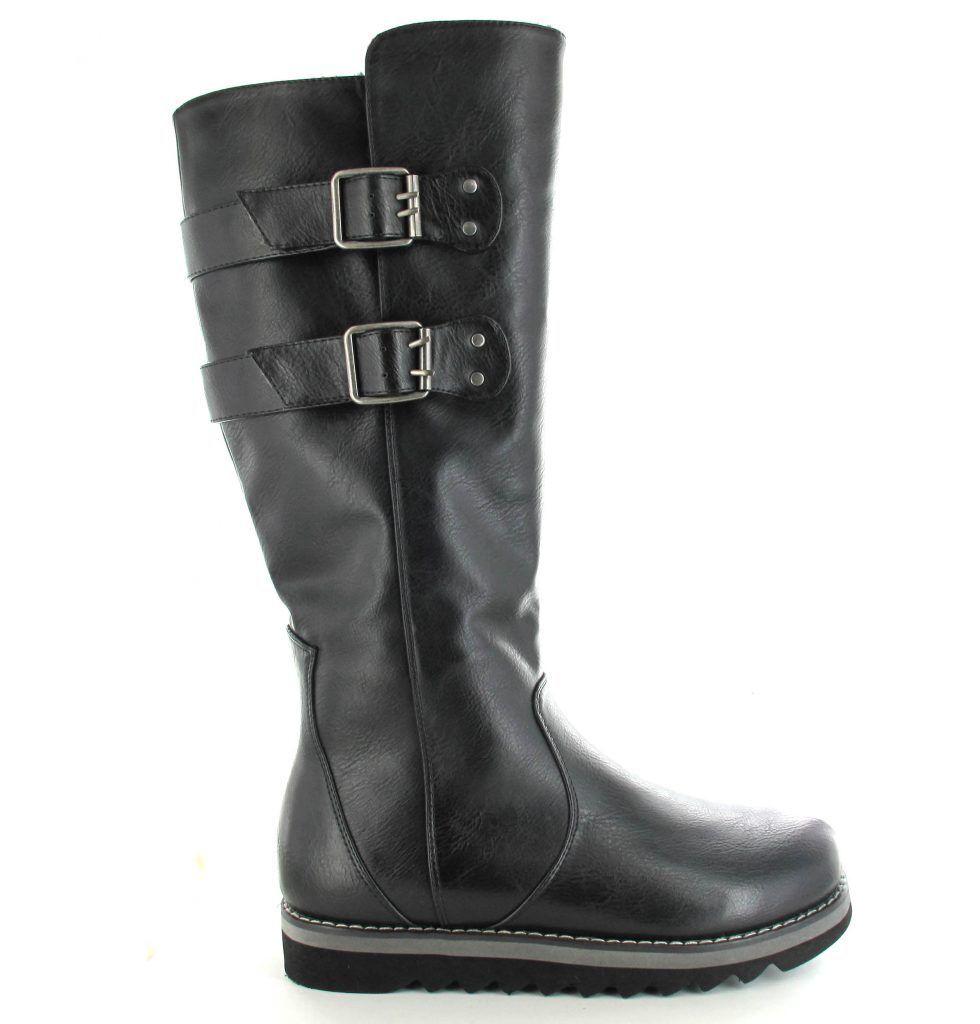 Ella Shoes Cherry Alti in Finta pelle neri Vegan al ginocchio Stivali neri pelle Fibbia 8dd272