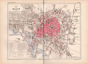 MALTEBRUN 1890s Antique Color Map DIJON Detailed City Plan