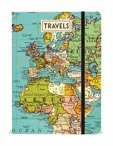 Cavallini-Grande-Foderato-Notebook-15-2x20-3cm-Vintage-Mondo-Mappa-144