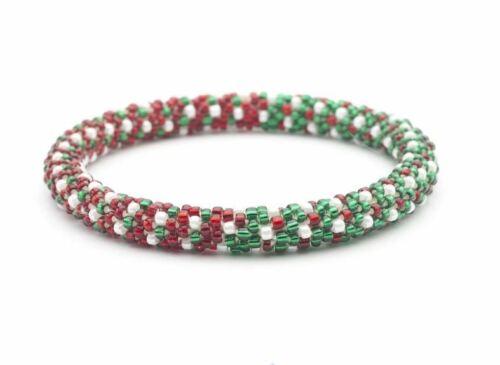 "Sashka Co EXTENDED 8/"" CHRISTMAS TREE Glass Bead BRACELET red white green Jewelry"