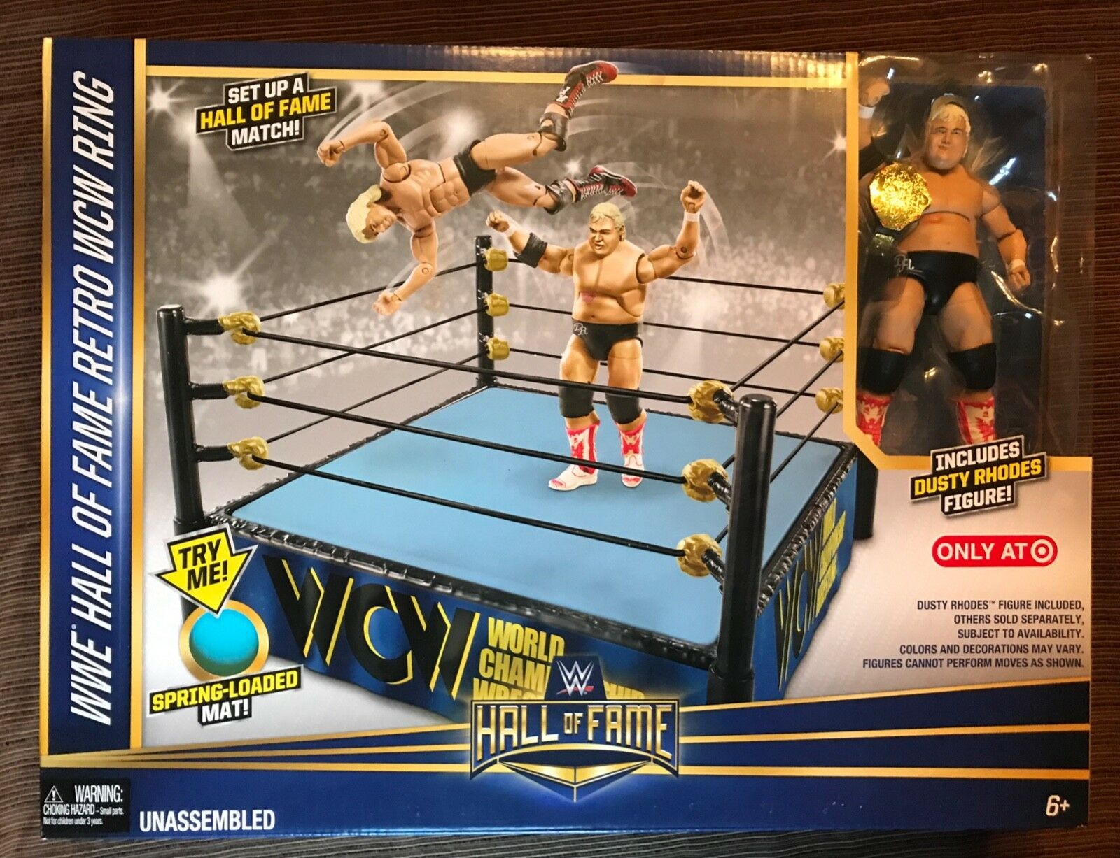 Dusty Rhodes WWE WWF Hall of Fame Wrestling Retro WCW Ring NIB Target Exclusive