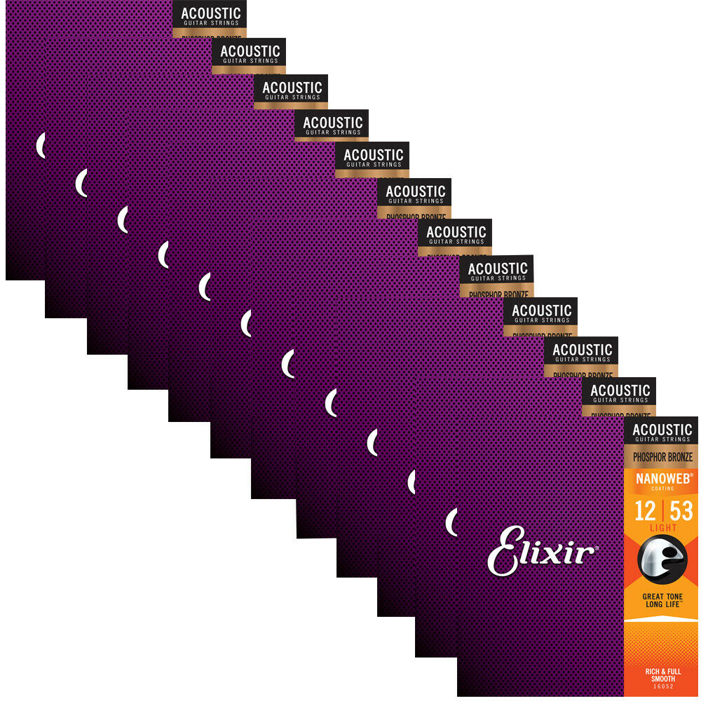 12 Setzt Elixir 16052 Nano Phosphor Bronze Light Acoustic Guitar Strings 12-53