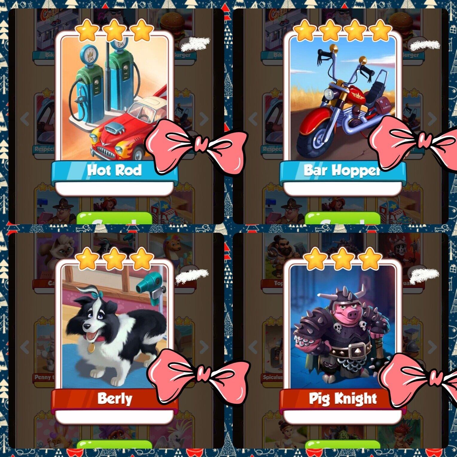 Coin Master Any 20 Card, Berly X5 Hot Rod X5 Bar Hopper X5 Pig Knight Fast Send