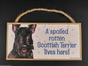 10-034-Scottie-A-SPOILED-ROTTEN-Sign-Scottish-Terrier-Scotty-Dog-Rope-Hanger-Plaque