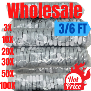Wholesale Bulk Lot 3FT/6FT USB Fast Charger Cable Data Cord for iPhone 11 12 XR