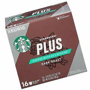 ae71231af2f Starbucks PLUS 16 K-CUP PODS COFFEE DARK ROAST 2x CAFFEINE for Keurig  Brewers
