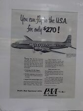 Original 1957 Vintage Advert ready to framed Pan AM Airlines