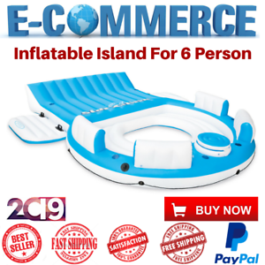 New-Inflatable-Island-Raft-Floating-Pool-Party-6-Person-Lake-Lounge-Float-Cooler