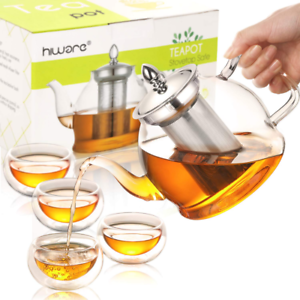 Stovetop 35 Oz Glass Teapot with Removable Infuser and Cups Hiware Teapot Set