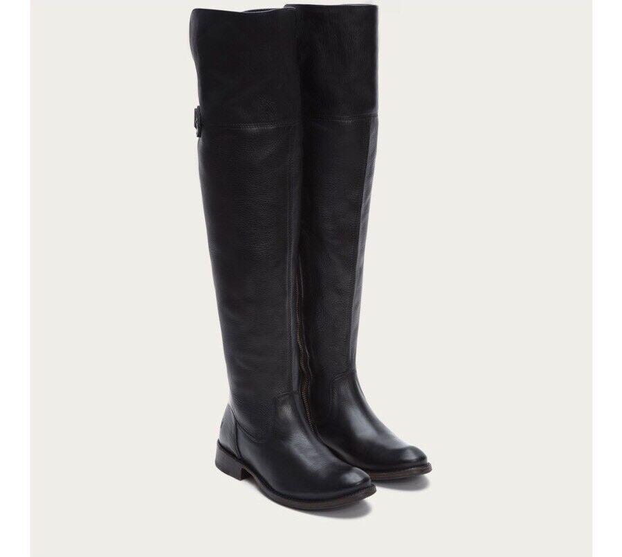 Frye Shirley OTK sobre la rodilla botas botas de montar Cuero Negro 7  Raro