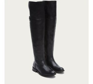 498-FRYE-Shirley-OTK-Over-The-Knee-Boots-Riding-Boots-Black-Leather-7-RARE