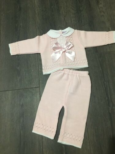 Baby babies girl girls 2 piece Spanish PINK OUTFIT satin bow top trousers