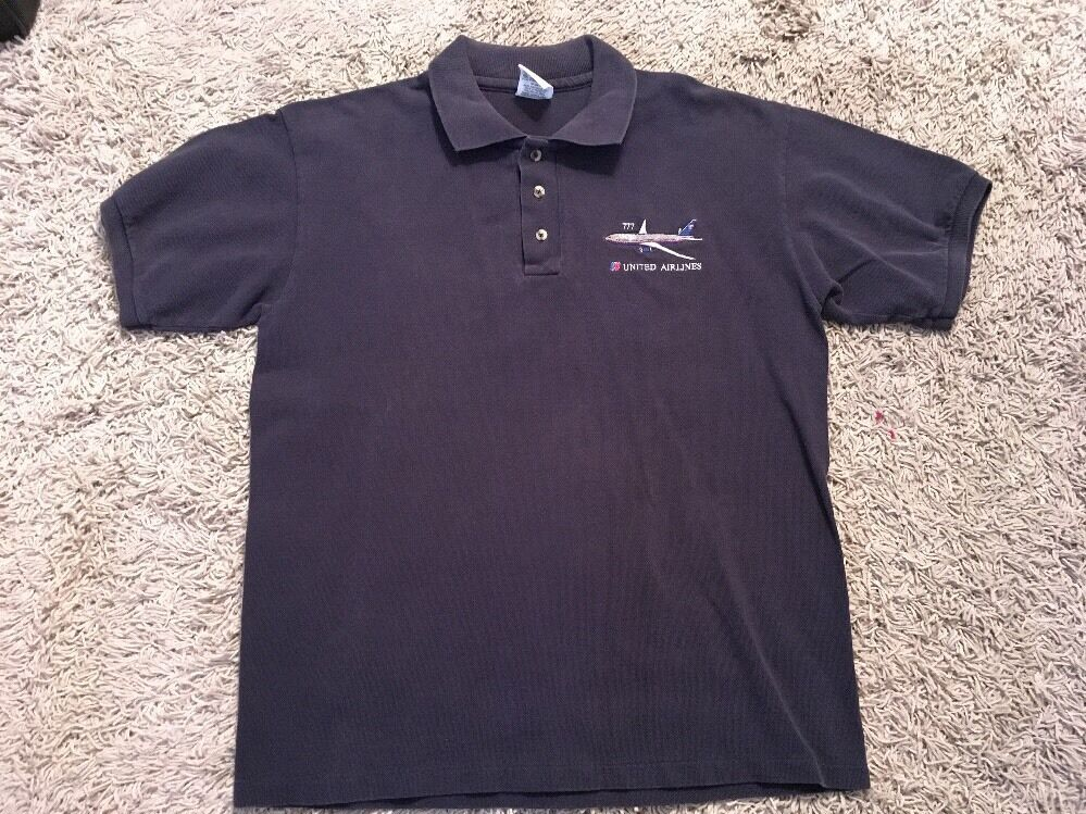Vintage Mens Untied Airlines Polo Shirt W  Embroidered 777 Plane, Size M